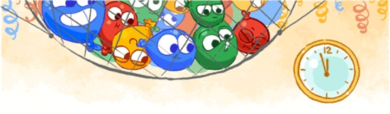 greetings, happy new year, Google Doodle